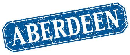 Aberdeen blue square grunge retro style sign Illustration