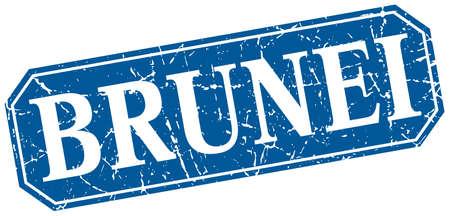 brunei: Brunei blue square grunge retro style sign
