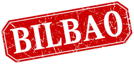 bilbao: Bilbao red square grunge retro style sign