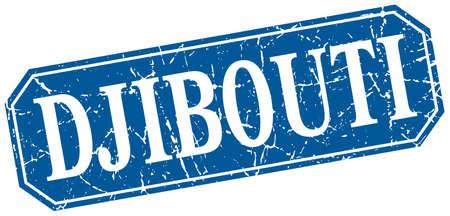 djibouti: Djibouti blue square grunge retro style sign