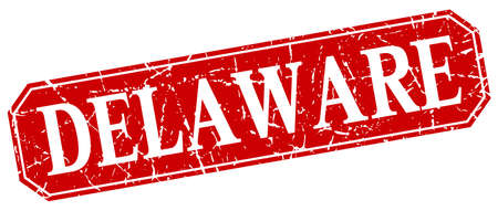 delaware: Delaware red square grunge retro style sign