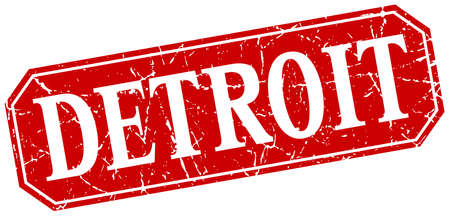 detroit: Detroit red square grunge retro style sign