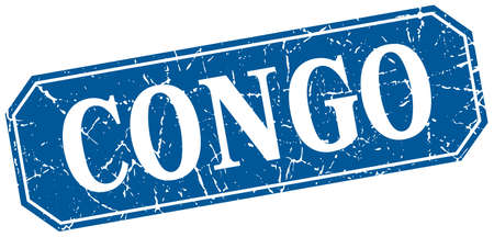 congo: Congo blue square grunge retro style sign Illustration