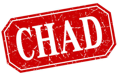 chad: Chad red square grunge retro style sign