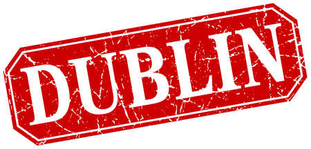 dublin: Dublin red square grunge retro style sign