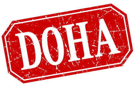 doha: Doha red square grunge retro style sign