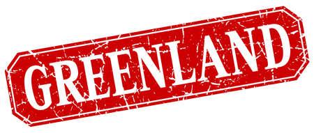 greenland: Greenland red square grunge retro style sign Illustration