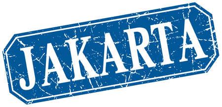 jakarta: Jakarta blue square grunge retro style sign
