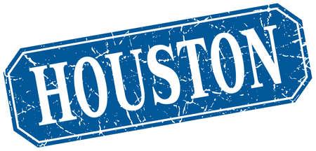 houston: Houston blue square grunge retro style sign