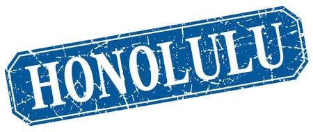 honolulu: Honolulu blue square grunge retro style sign