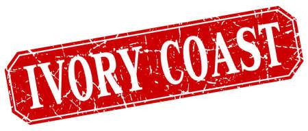 coast: Ivory Coast red square grunge retro style sign
