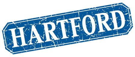 hartford: Hartford blue square grunge retro style sign Illustration