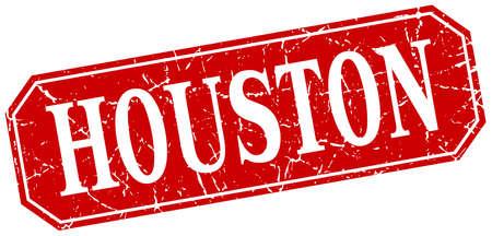 houston: Houston red square grunge retro style sign