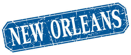 new orleans: New Orleans blue square grunge retro style sign