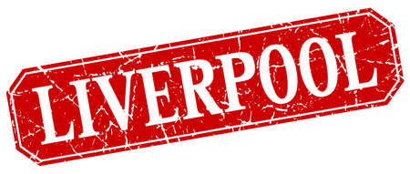 liverpool: Liverpool red square grunge retro style sign Illustration