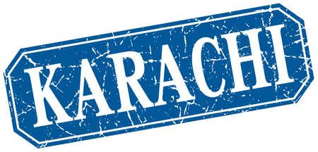 karachi: Karachi blue square grunge retro style sign