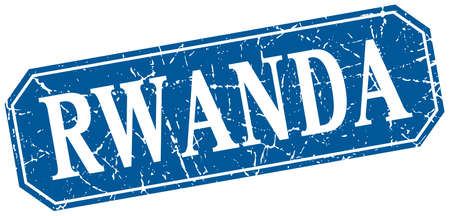 rwanda: Rwanda blue square grunge retro style sign Illustration