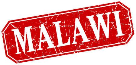 malawi: Malawi red square grunge retro style sign Illustration