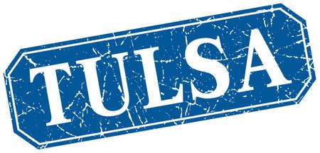 Tulsa blue square grunge retro style sign