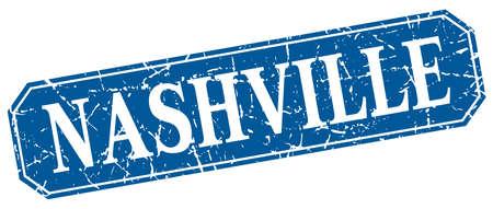 nashville: Nashville blue square grunge retro style sign