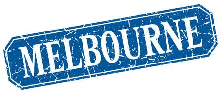 melbourne: Melbourne blue square grunge retro style sign