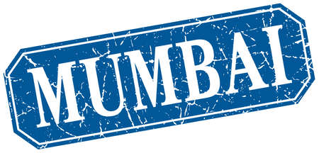 mumbai: Mumbai blue square grunge retro style sign
