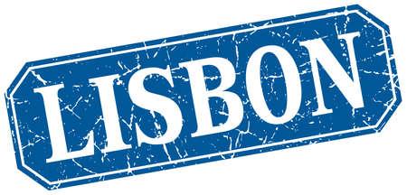 lisbon: Lisbon blue square grunge retro style sign Illustration