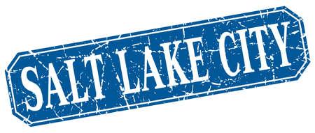salt lake city: Salt Lake City blue square grunge retro style sign Illustration