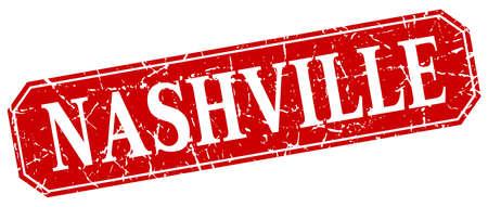 nashville: Nashville red square grunge retro style sign Illustration
