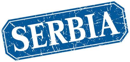 serbia: Serbia blue square grunge retro style sign Illustration