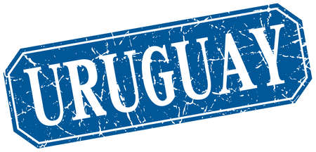 uruguay: Uruguay blue square grunge retro style sign