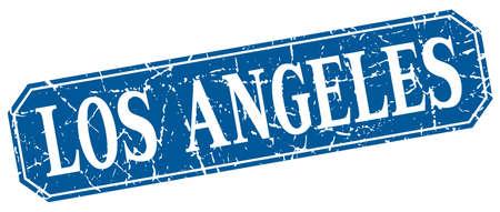 los angeles: Los Angeles blue square grunge retro style sign