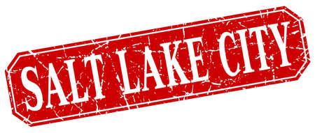 salt lake city: Salt Lake City red square grunge retro style sign Illustration