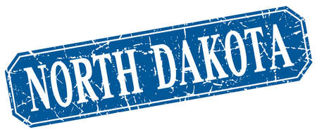 north dakota: North Dakota blue square grunge retro style sign Illustration