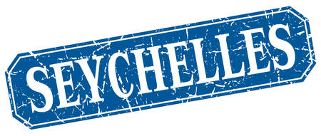 seychelles: Seychelles blue square grunge retro style sign Illustration