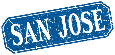 san jose: San Jose blue square grunge retro style sign Illustration