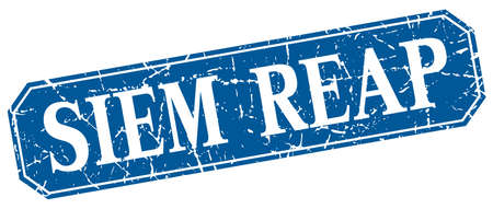 siem reap: Siem Reap blue square grunge retro style sign Illustration