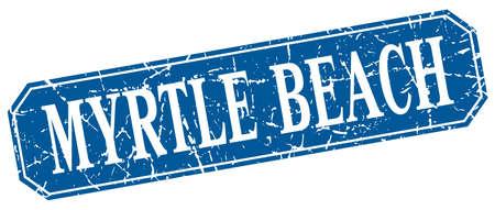 myrtle beach: Myrtle Beach blue square grunge retro style sign