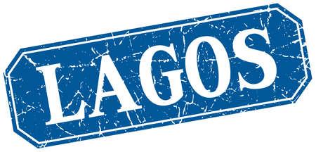 lagos: Lagos blue square grunge retro style sign