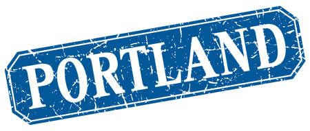 portland: Portland blue square grunge retro style sign Illustration