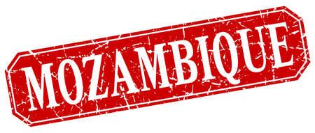 mozambique: Mozambique red square grunge retro style sign