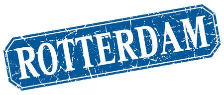 rotterdam: Rotterdam blue square grunge retro style sign