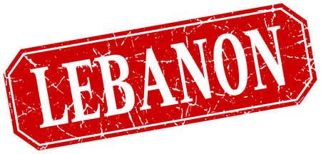 lebanon: Lebanon red square grunge retro style sign Illustration