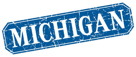 michigan: Michigan blue square grunge retro style sign