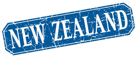 New Zealand blue square grunge retro style sign
