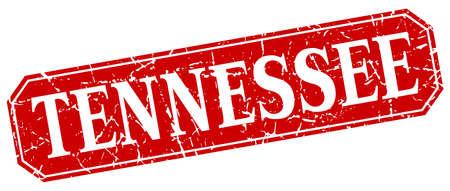 tennesse: Tennessee cuadrado rojo grunge signo de estilo retro