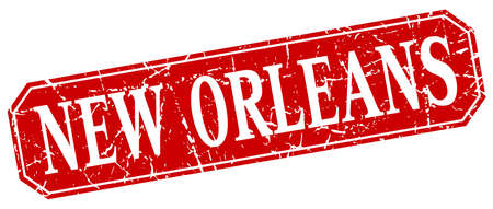 new orleans: New Orleans red square grunge retro style sign Illustration