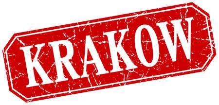 krakow: Krakow red square grunge retro style sign