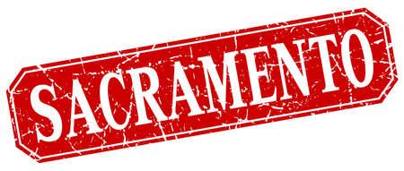 sacramento: Sacramento red square grunge retro style sign Illustration