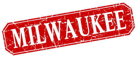 Milwaukee: Milwaukee red square grunge retro style sign